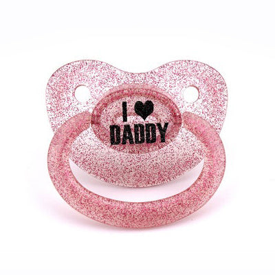 DDLG I <3 Daddy custom adult pacifier in pink glitter - nuk 6 equivalent. adult dummy