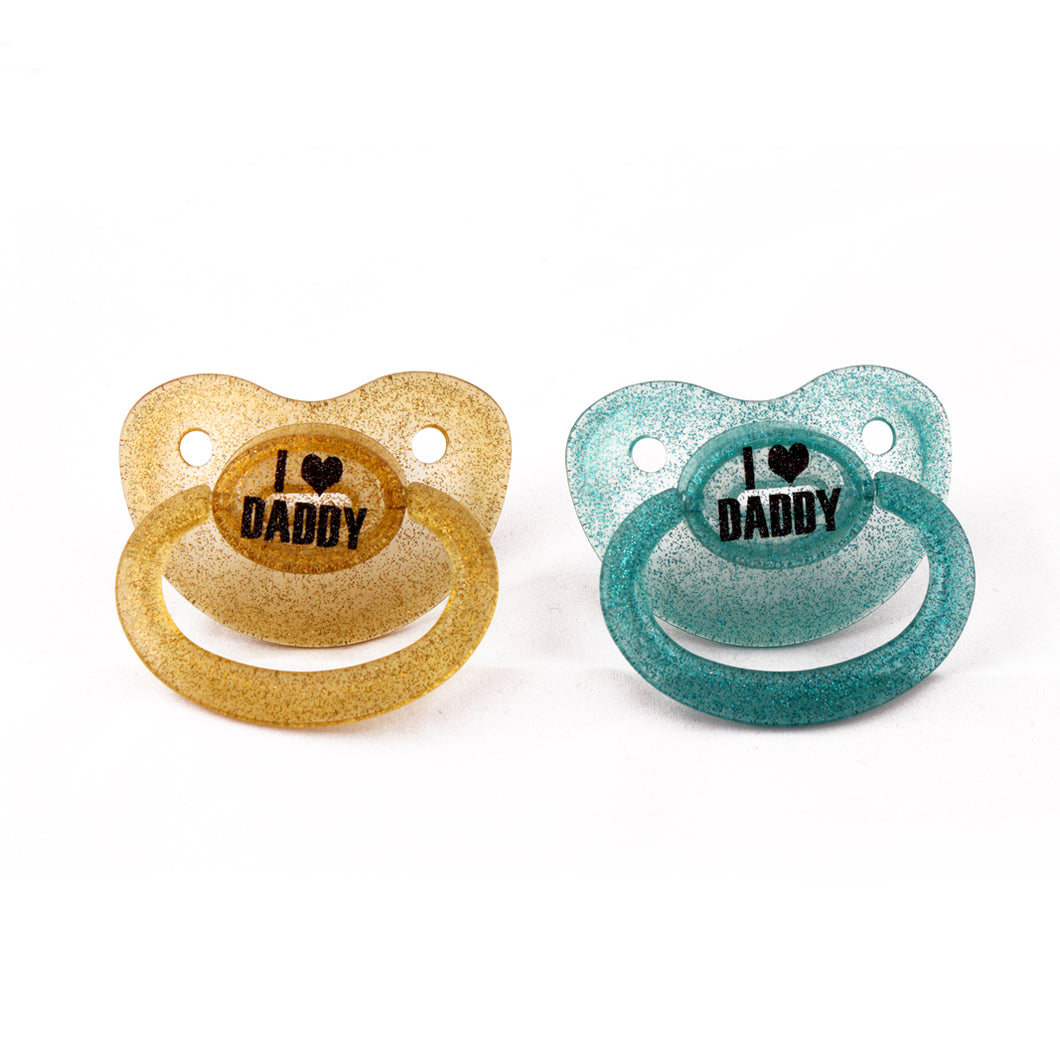 I <3 Daddy custom adult pacifier in glitter - nuk 6 equivalent. Ddlg dummy