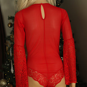 "Sexy red lingerie bodysuit with lace detail and ""owned"" personalisation to the front."