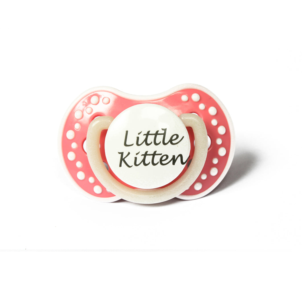 Little kitten small abdl pacifier. Pet play pacifier with the words little kitten. Glow in the dark adult dummy in baby pink and white nuk 3
