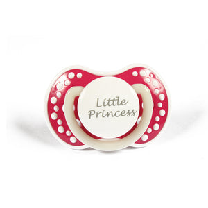 DDLG small Adult baby pacifier. ABDL pacifier with the words Little princess. Glow in the dark adult dummy in dark pink and white - nuk 3