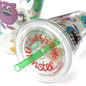 DDLG ABDL adorable monster sippy cup with straw, adorable monster design and customised with the phrase daddy's little monster