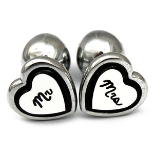 Mr & Mrs heart butt plug for married couple! BDSM anal buttplug. Mature listing perfect as bridal/ wedding gift