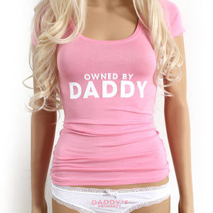 Daddy's girl ddlg clothes. Owned by daddy T-shirt and daddy's property panties lingerie set. BDSM kit for littles