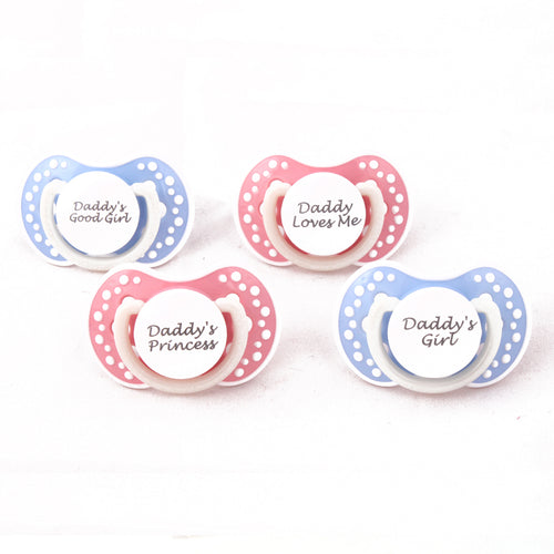 DDLG small Adult baby pacifier. ABDL pacifier with custom quotes. Glow in the dark adult dummy in baby pink or baby blue and white - nuk 3
