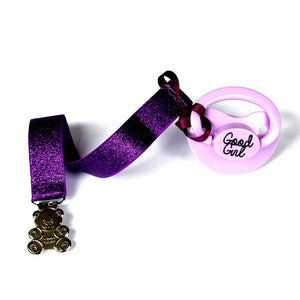 Adult baby pacifier clip - ABDL soother clip - DDLG dummy chain purple glitter