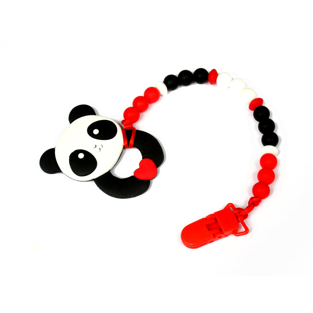 Panda customised teether clip. Keep your little quiet with our adorable silicone teether! Perfect DDLG or ABDL accessory