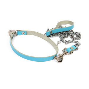 Leather hand made locking collar and lead bondage set - blue