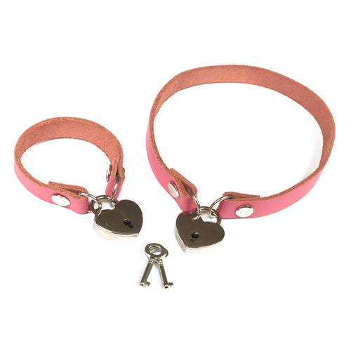 Locking BDSM collar - heart padlock real leather made to measure locking slave collar for bondage wear - hand crafted leather bdsm collars
