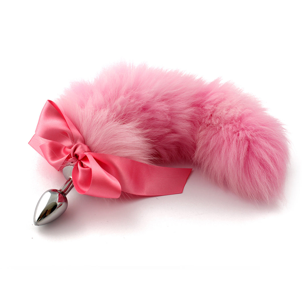Cute pink hand dyed pet play fur tail. Custom made kitten play tail with satin ribbon bdsm tail