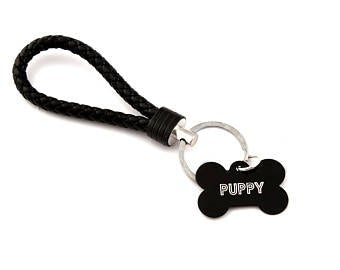 Custom engraved pet play keyring - black BDSM keychain for puppy play
