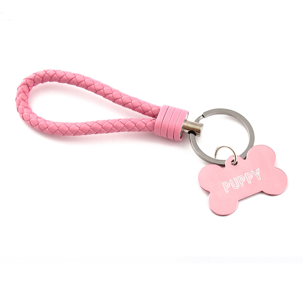 Custom engraved pet play keyring - pink BDSM keychain for puppy play