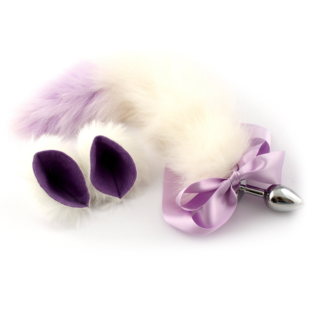 Pet play set - kitten tail and ears in white & purple - cute kitty buttplug tail and cat ears