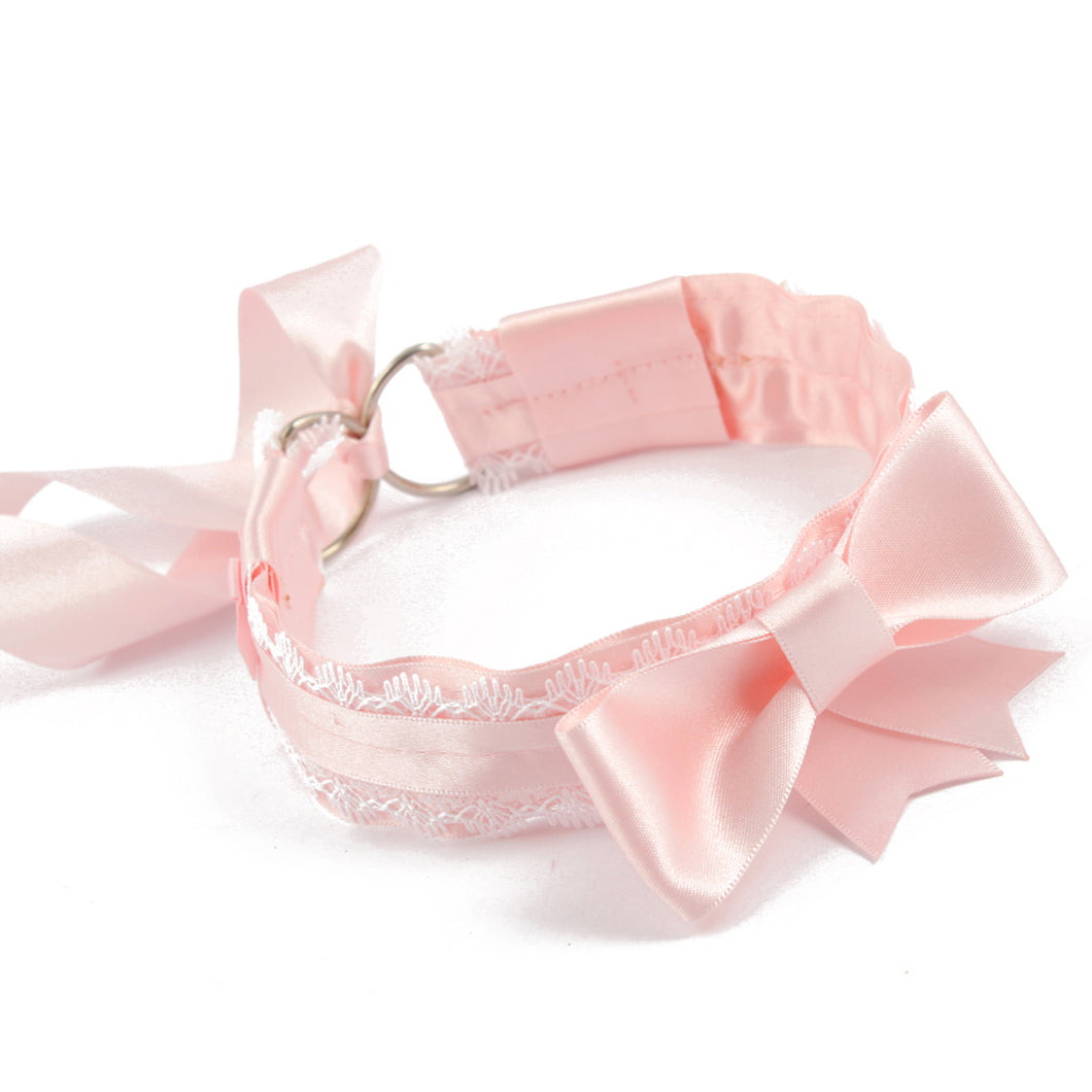 BDSM handmade pink & white collar. Perfect for DDLG collar or pet play collars