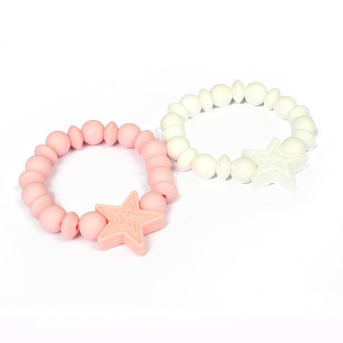 Adorable silicone teether bracelets with star detail. Hide your little side and still feel comforted with our ABDL DDLG teething bracelets