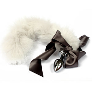 Silver petplay tail butt plug. Beautiful faux fur hand dyed to create this custom kitten play tail - bdsm tail buttplug for pet play
