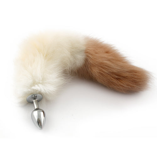 White and brown hand dyed and dipped petplay tail butt plug. Beautifully crafted to create this custom kitten play tail