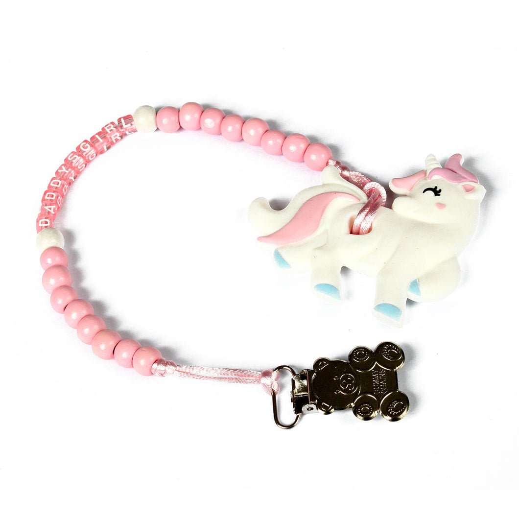 Daddy's girl customised clip with unicorn teether. Keep your little quiet with our adorable silicone teether!