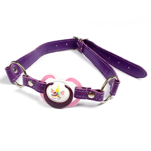 Ddlg abdl unicorn paci gag - cute gag with pacifier/ dummy. Keep your little quiet with our pacifier gag! (Baby teat only)