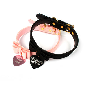 Black & pink bdsm collard with gold coloured hardware. Perfect for ddlg, pet play, Dom/ sub Adorable collars for Bdsm bondage wear