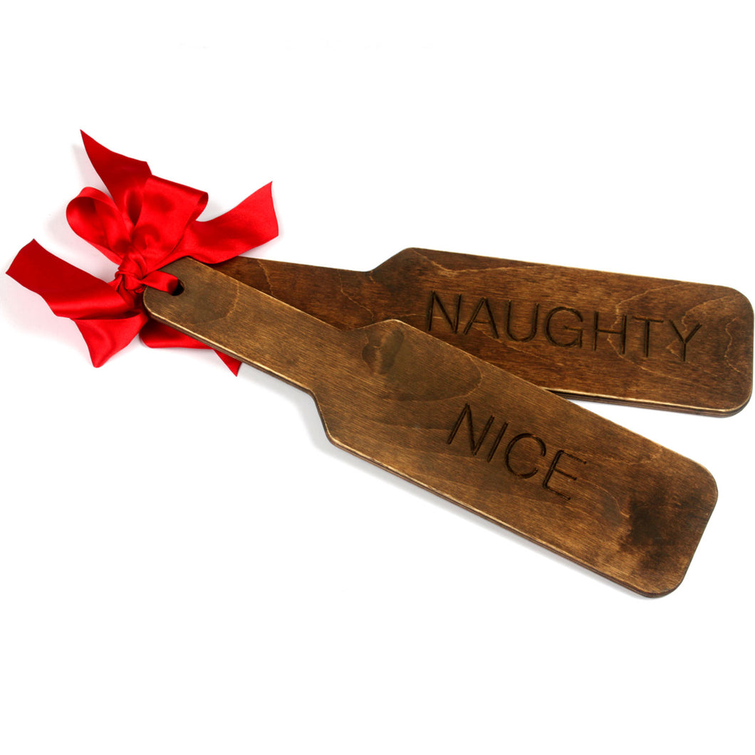 Naughty/ Nice engraved christmas BDSM wooden spanking paddle custom fetish punishment paddle engraved both sides. Perfect for ddlg - MATURE