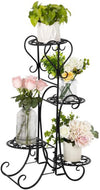 VINGLI Metal Plant Stand Flower Holder Racks 4 Tier Shelves Patio Stand Holder Outdoor Displaying Plants Flowers (Black-Round)