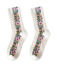 Socks Floral Socks - White