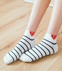 Socks Love Heart Eyes Socks - White  Multi-striped