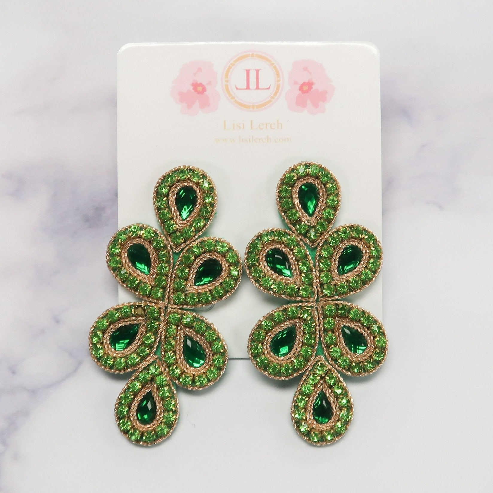 Ginger Beaded Emerald Earrings by Lisi Lerch