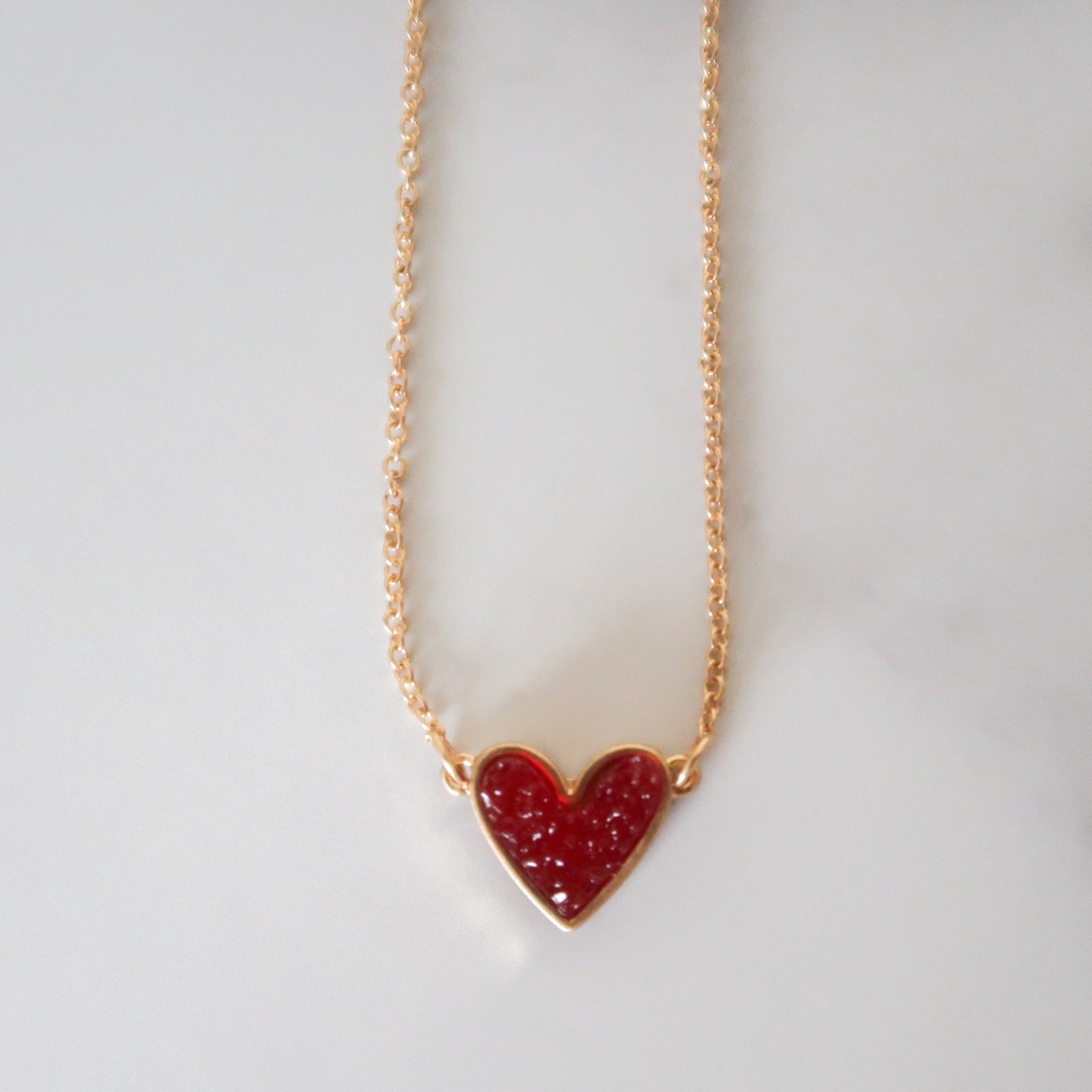 Druzy Heart Pendant Necklace