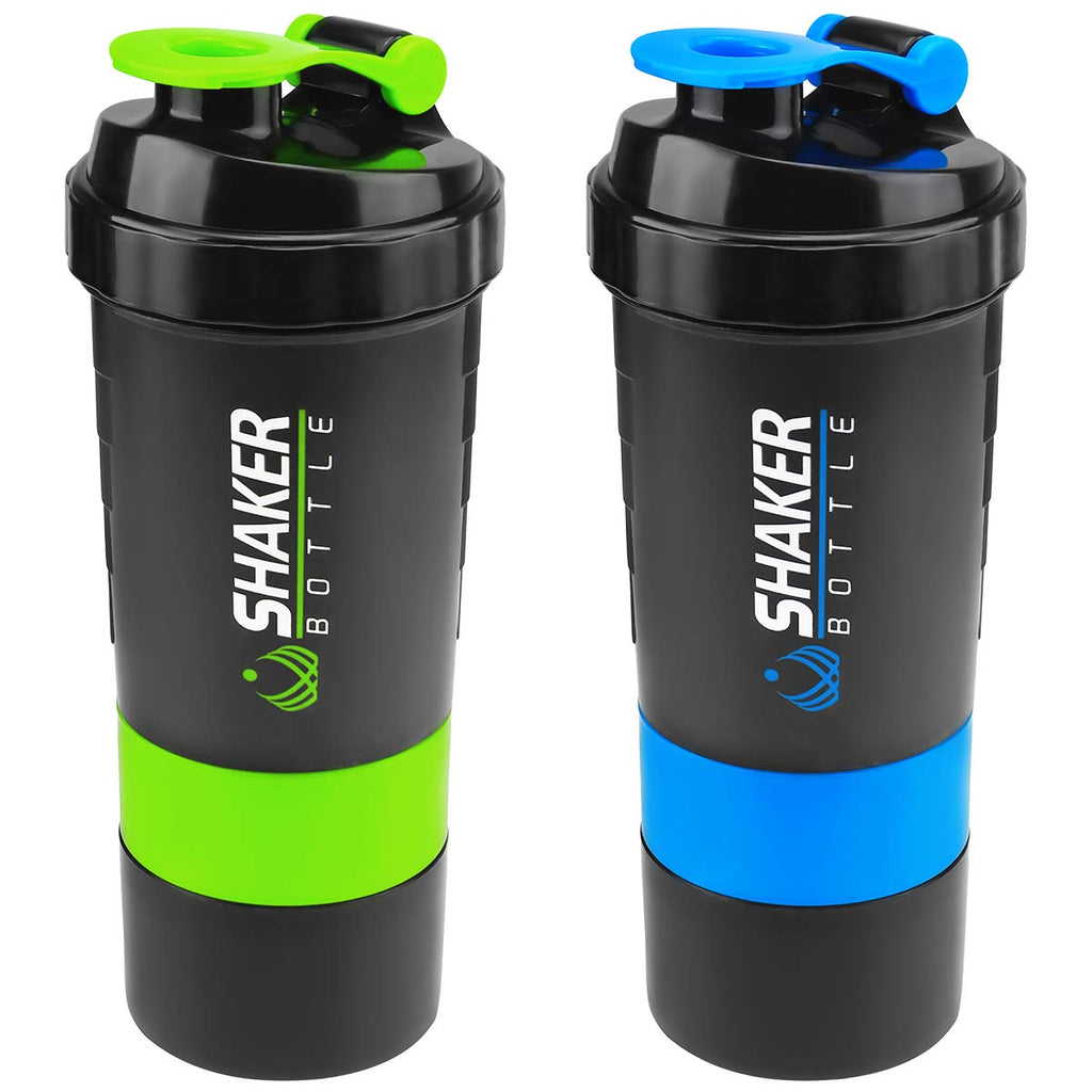 The Shaker Bottle - Fitness mixer and storage compartments plus leak proof