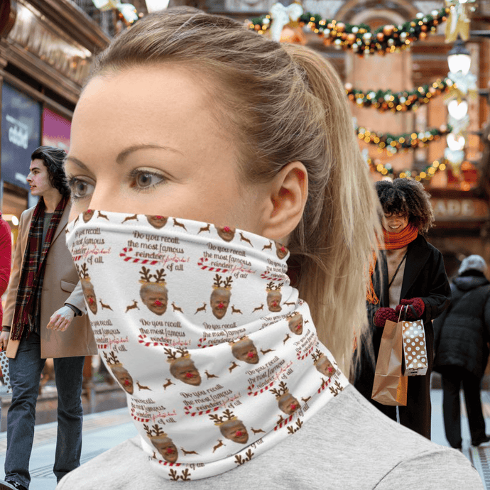 Do You Recall The Most Famous Reindeer Of All, Face And Neck Gaiter