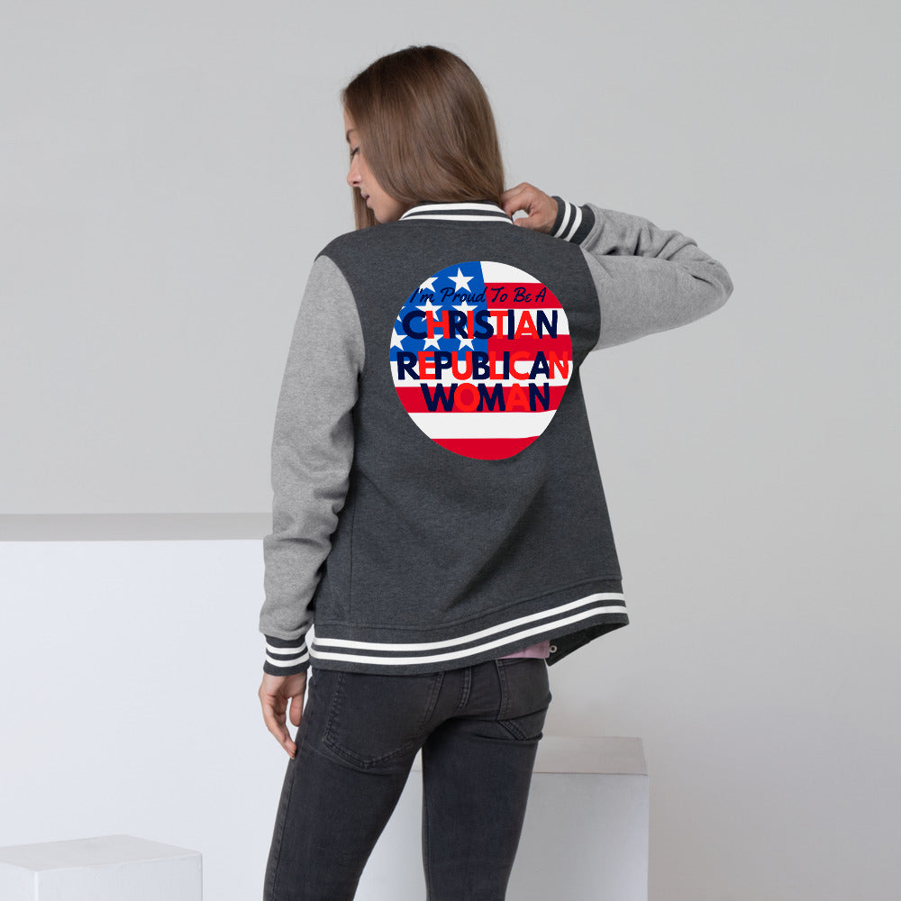 Christian, Republican, American Women's Letterman Jacket - More94, Trump, Republican, Conservative, GOP, Patriotic Clothing