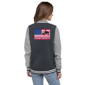 American, Trump, Conservative, GOP Women's Letterman Jacket - More94, Trump, Republican, Conservative, GOP, Patriot Apparel
