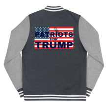 Load image into Gallery viewer, Patriots, Trump, Conservative, Womens Letterman Jacket, Jacket - More94, Trump, Republican, Conservative, GOP, Patriotic Clothing