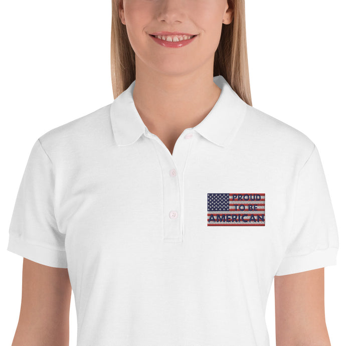 Patriots, America, USA, Womens Polo, Ladies Embroidered Polo Shirt - More94, Trump, Republican, Conservative, GOP, Patriotic Clothing