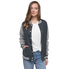 Load image into Gallery viewer, Christian, Patriot, Trump, Womens Jacket, Women's Letterman Jacket - More94, Trump, Republican, Conservative, GOP, Patriotic Clothing