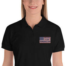 Load image into Gallery viewer, Patriots, America, USA, Womens Polo, Ladies Embroidered Polo Shirt - More94, Trump, Republican, Conservative, GOP, Patriotic Clothing