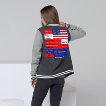 Load image into Gallery viewer, Trump, Patriot, American Women's Letterman Jacket - More94, Trump, Republican, Conservative, GOP, Patriot Apparel