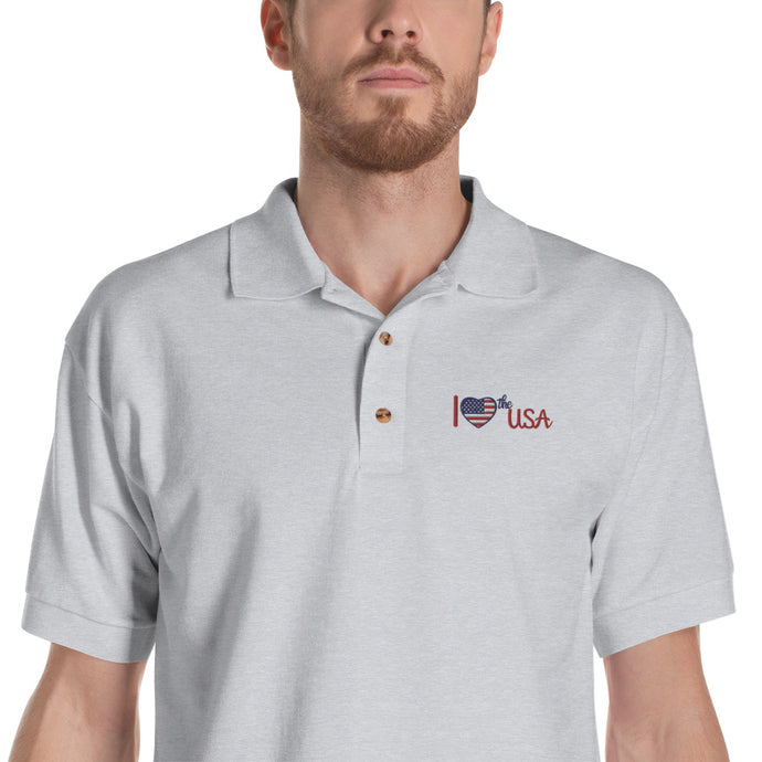USA, Patriot, American, Mens Polo, Embroidered Polo Shirt - More94, Trump, Republican, Conservative, GOP, Patriotic Clothing
