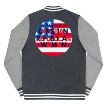 Load image into Gallery viewer, Christian, Republican, American Women's Letterman Jacket - More94, Trump, Republican, Conservative, GOP, Patriotic Clothing
