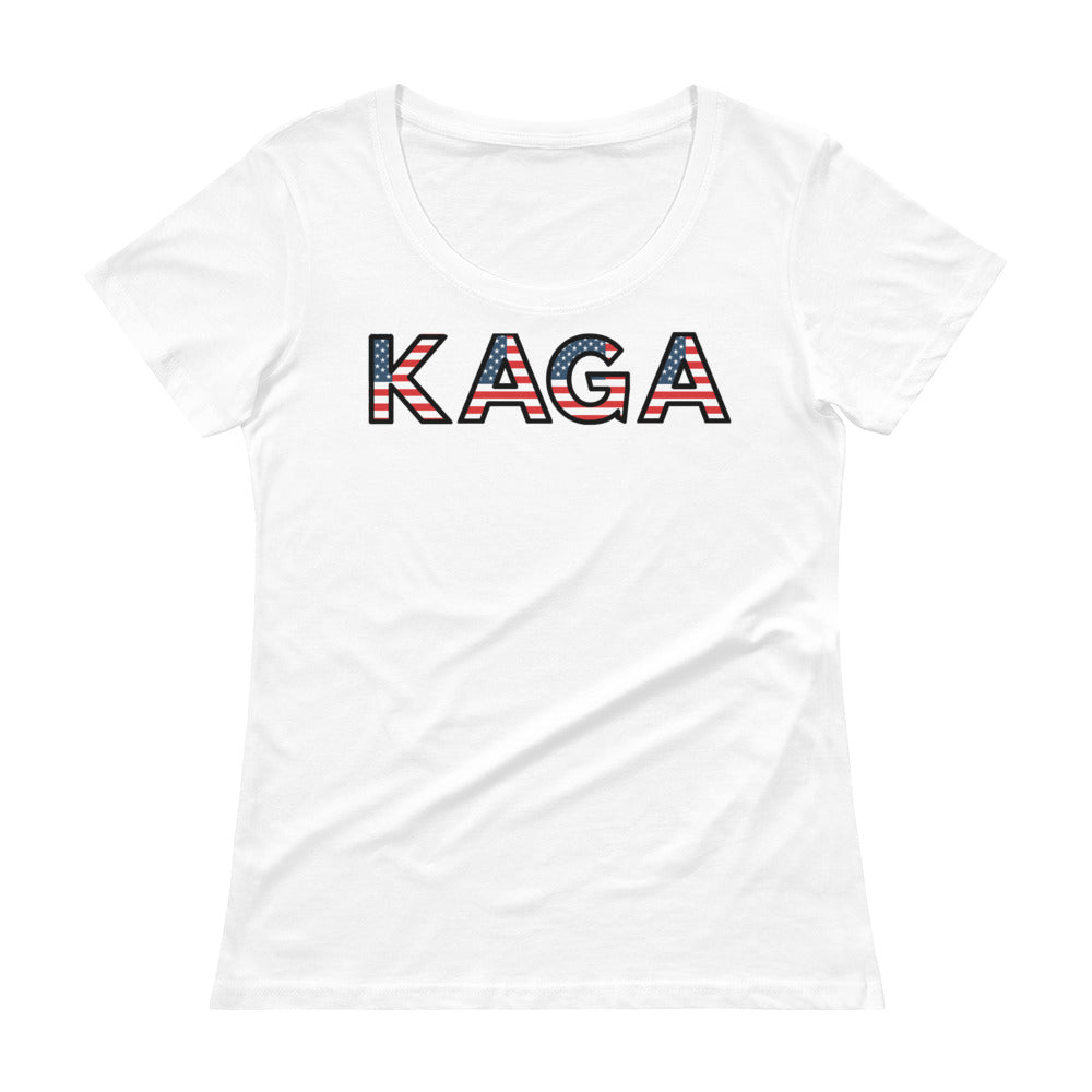 KAGA, Trump, Conservative, Patriotic, Womens T Shirt, Ladies' Scoopneck T-Shirt - More94, Trump, Republican, Conservative, GOP, Patriotic Clothing