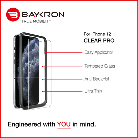 Baykron New iPhone 12 Pro Max Antibacterial Clear HD Tempered Glass 2