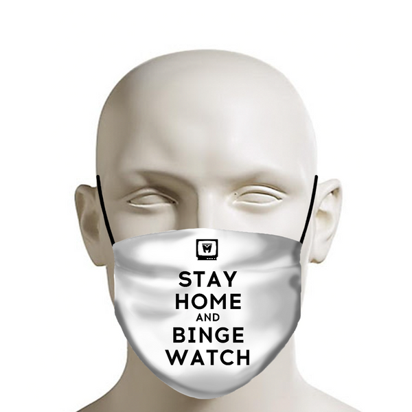 LEGION M - Face Mask - Stay Home and Binge Watch on White