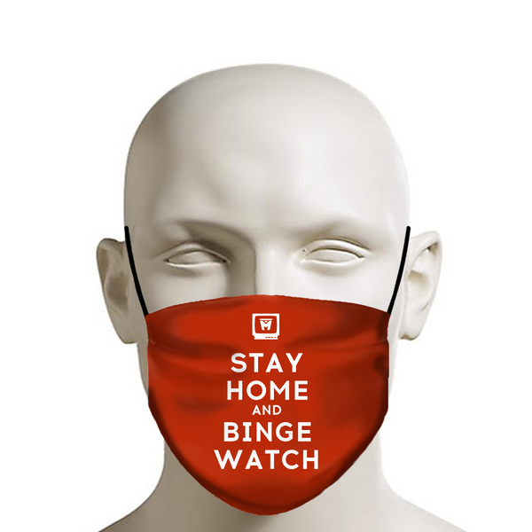 LEGION M - Face Mask - Stay Home and Binge Watch on Red