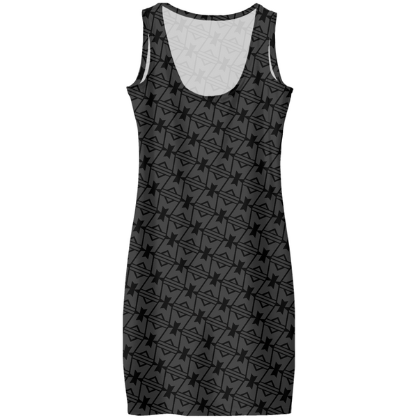 LEGION M - M Icon Geometric Pattern Black Tonal - AOP Dress (Pre-Order)