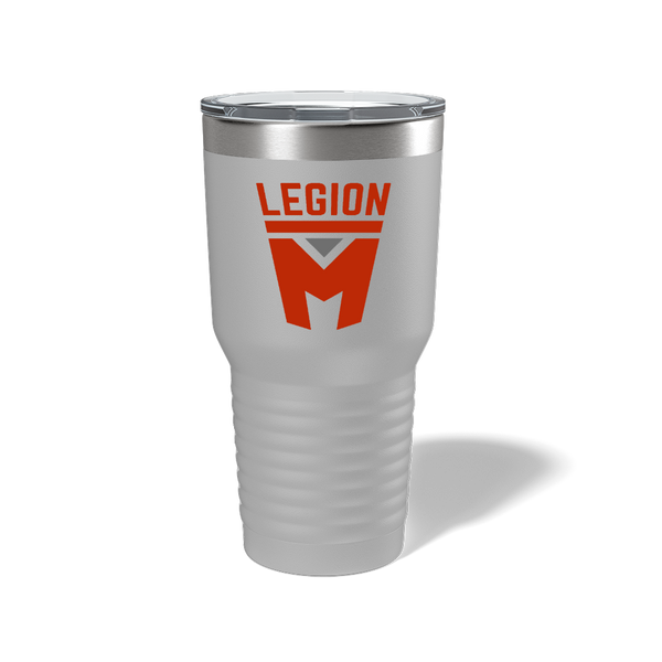 LEGION M - RED STACKED LOGO - SILVER TUMBLER