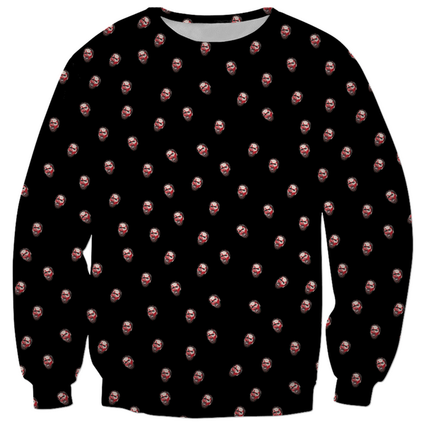 MANDY - RED MILLER HEAD TOSS PRINT - ALL OVER PRINT PULLOVER SWEATER