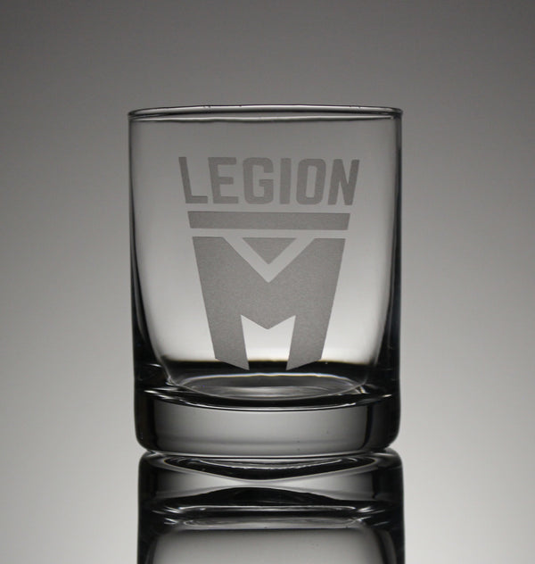 Legion M - Stacked Logo - Whiskey Glass (PRE-ORDER)