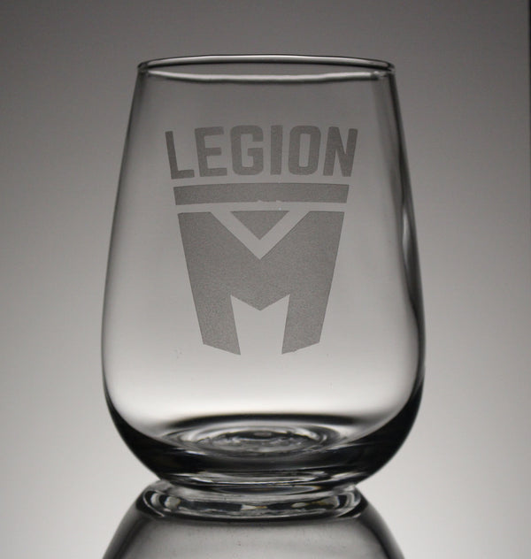 Legion M - Stacked Logo - Stemless Wine Glass (PRE-ORDER)